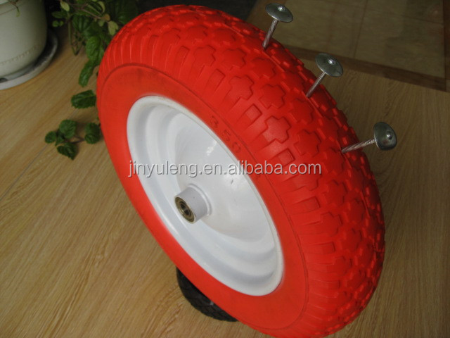 14 inch 3.50-8 pu foma wheel solid wheel wheelbarrow wheel steel rim color tire