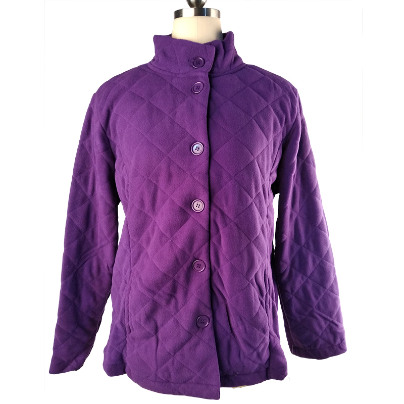 100% Polyester Lady knitted Jacket Warm Polar Fleece Coated Button Jacket