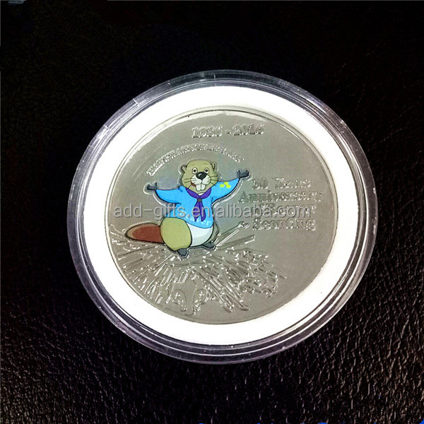 promotional 3D little bear animal collectible coin with transparent box