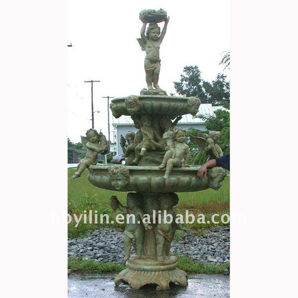 antique looking Bronze 3 Tier Cupid Fountain Ht124 in W72 in L72 in