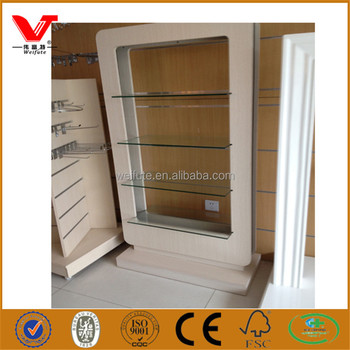 Modern Wood Wall Make Up Display Cabinet Cases Used Cosmetic Design