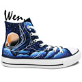 Wen Design Custom Hand Painted Shoes Blue Galaxy Tardis Doctor Who Man Woman s High Top