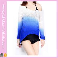 2016 Fashion Korean Color Combination Wool Pierced Sweater Knitting Pattern