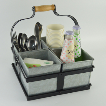 Metal Cutlery Holder Flatware Caddy Organizer For Kitchen Countertop Storage Dining Table F0212