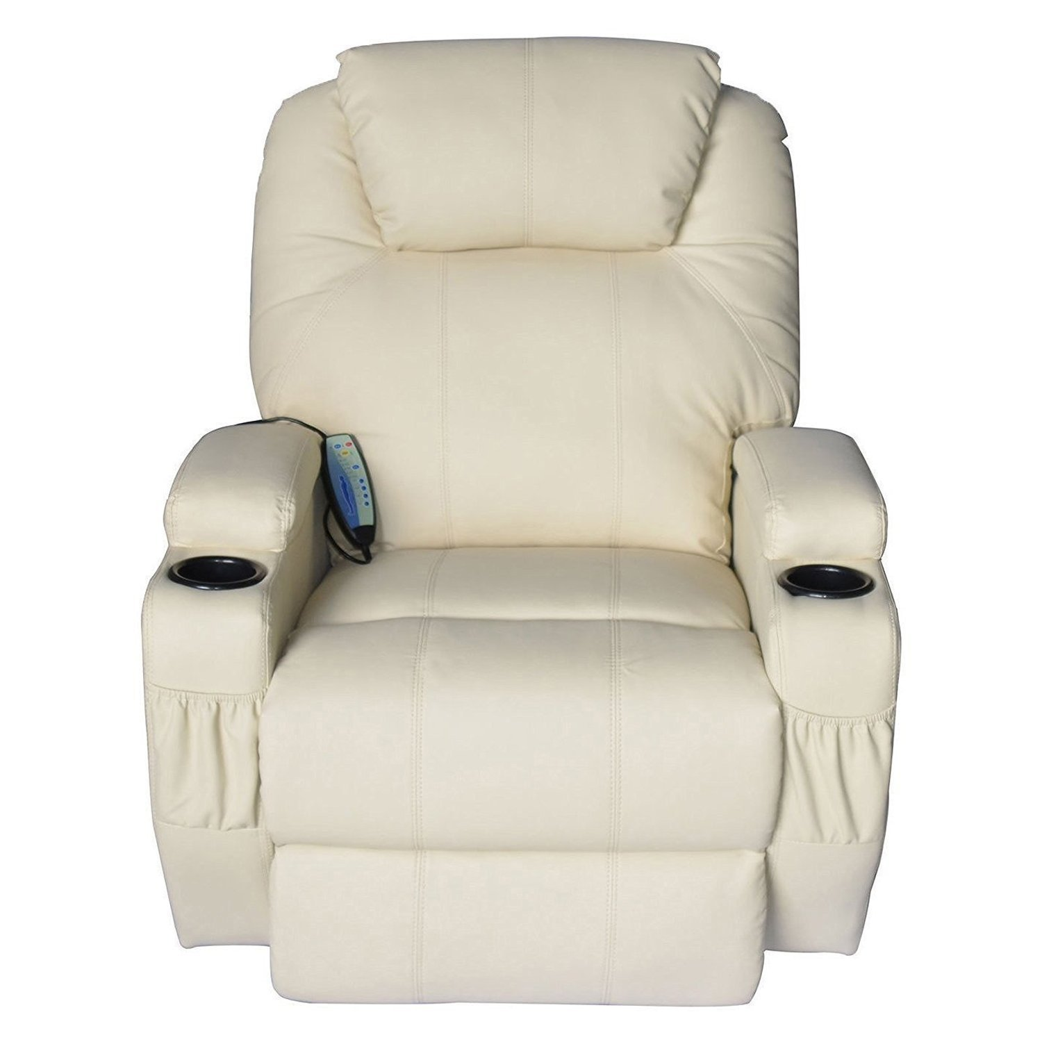 Massage Recliner Sofa Chair Pu Leather 360 Degree Rocker Swivel Massage Recliner- 8 Vibrating Nodes -Executive Heated w/ Control Back ( 2 of Free Sea Urchin Massage Ball)