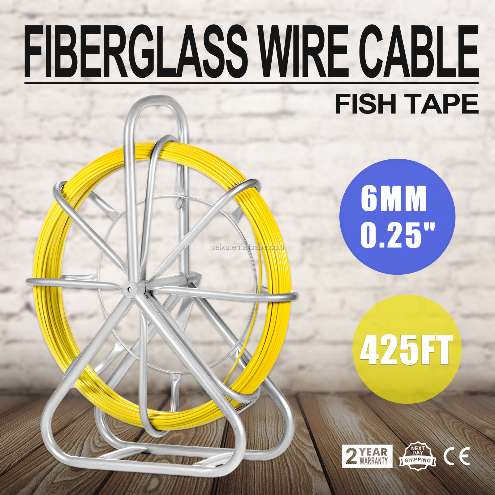 VEVOR Guaranteed 100% Fiber glass copper wire Cable 6mm Fish Tape Running Rod Duct Fish tape 130m