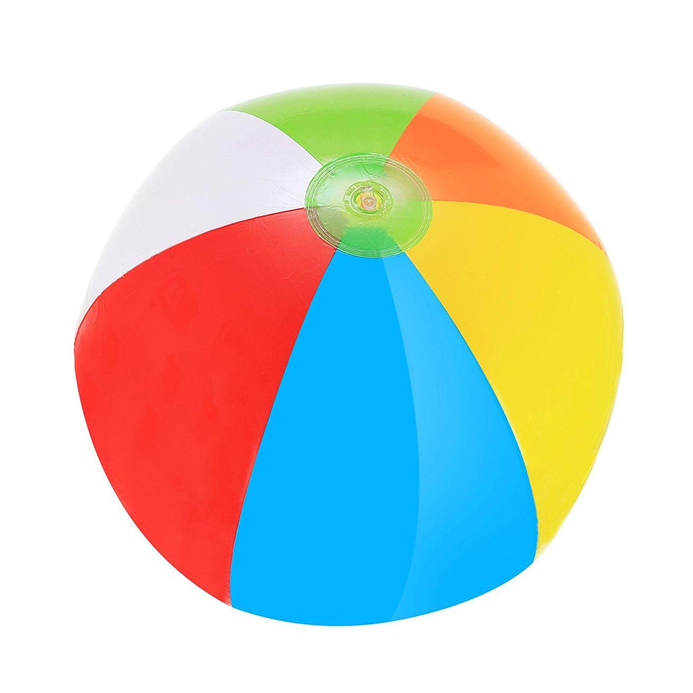 "SNInc. Rainbow Beach Balls 20"" - Pack Of 4 Inflatable Beach Balls"