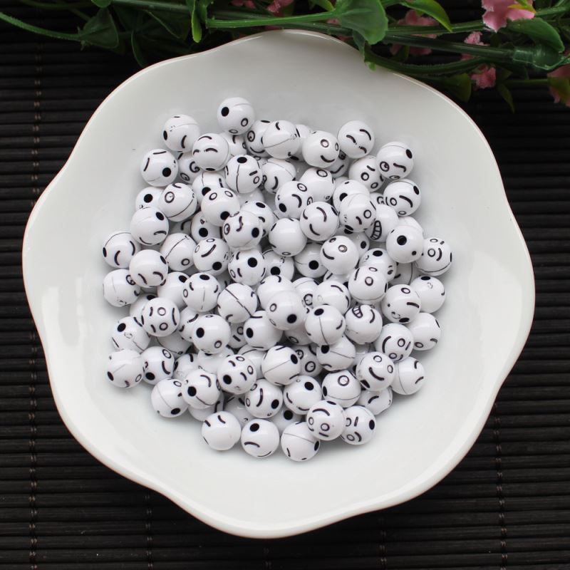 Lovely 8mm Black Emoticon Round Bead | Emoji Smiley Face Acrylic Beads White Ball Beads in Bulk