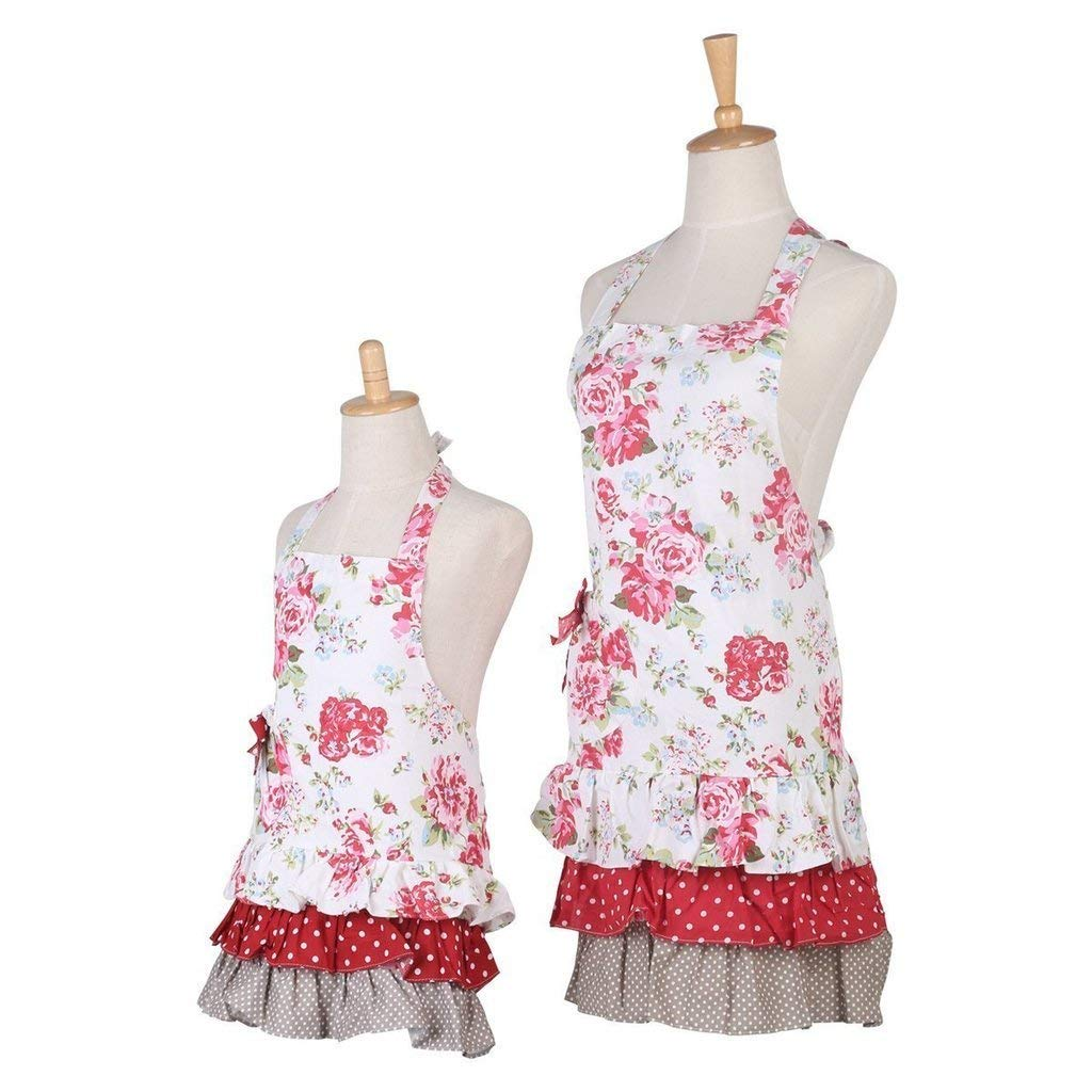 Payviva 100% Cotton Fabric Material Three Tiered Ruffles With a Big Bow on the Pocket Kitchen Apron Pink Flower Color Kids and Mother