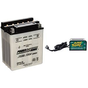 Power-Sonic CB14L-A2 Conventional Powersport Battery and Deltran Battery Tender (021-0128) 1.25 Amp Battery Charger Bundle