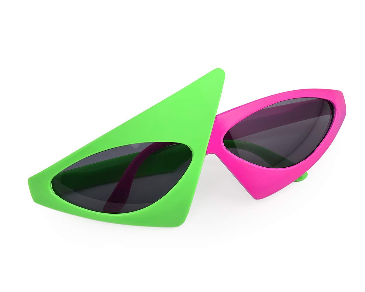315e371761 Get Quotations · ACE Select Novelty Party Sunglasses 80s Asymmetric Glasses  Hot Pink and Neon Green Glasses for Hip