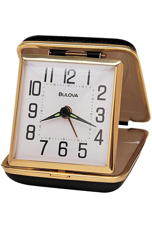 Reliable II Clock w Alarm Folds into Black Metal Case - Bulova