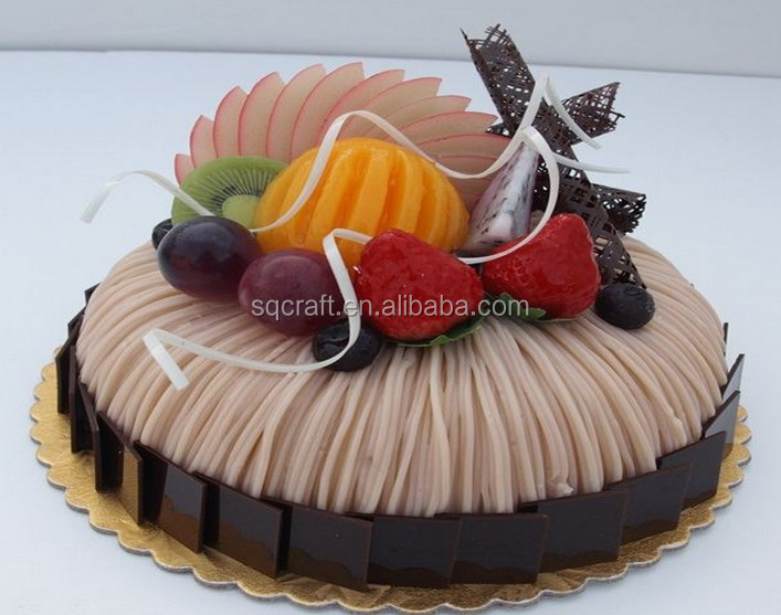 Artificial Birthday Cake Model With Fake Fruits For Shop Sample