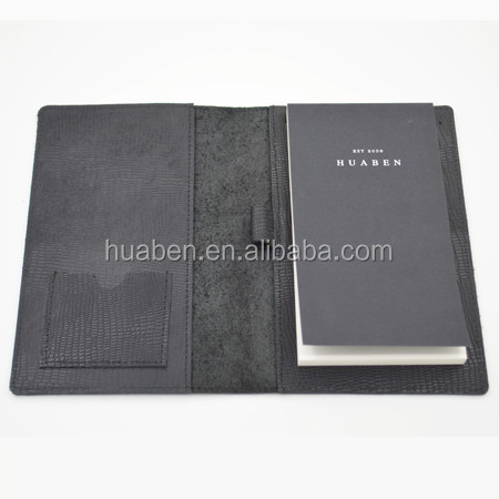 Huaben genuine leather executive notepad recycled paper leather notepad case