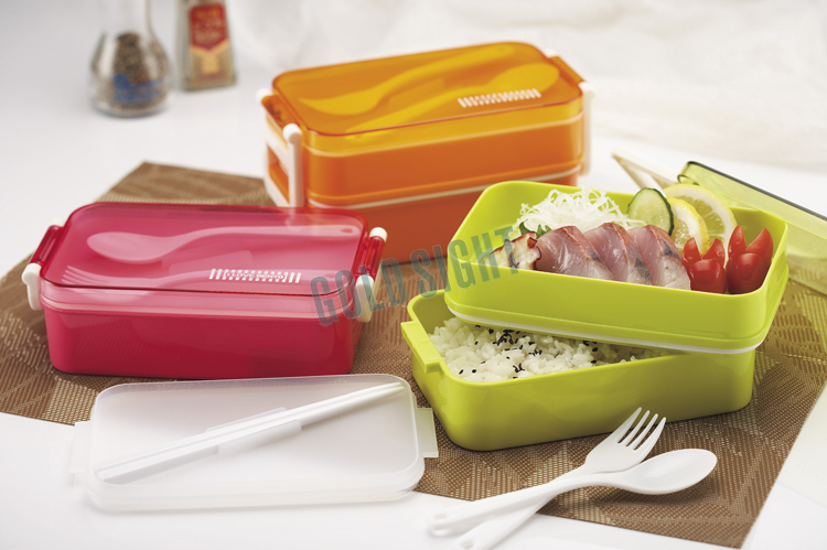 Gold Sight Fabrik Plastik-Lunchbox mit Band, Mikrowellen-Oval-Bento-Box mit Band