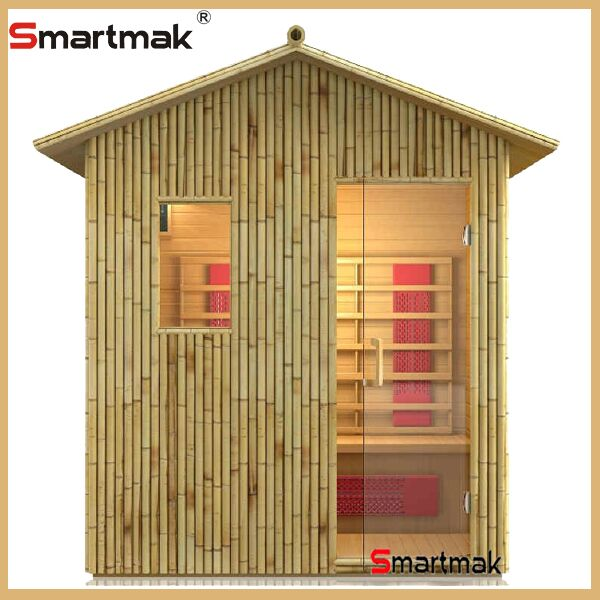Prefabricated bamboo 3 person far infrared outdoor sauna room houses
