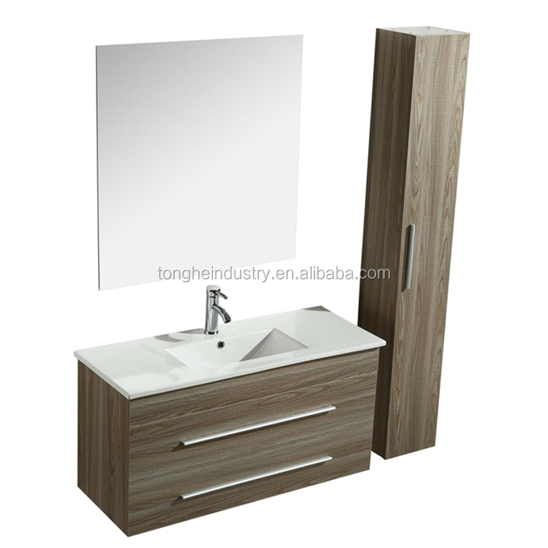 100cm wall mount melamine bathroom cabinet with big side cabinet