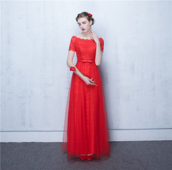 2017 Red Elegant Bateau Pleats Short Sleeve Bow Lace-up A Line Satin Evening Dress