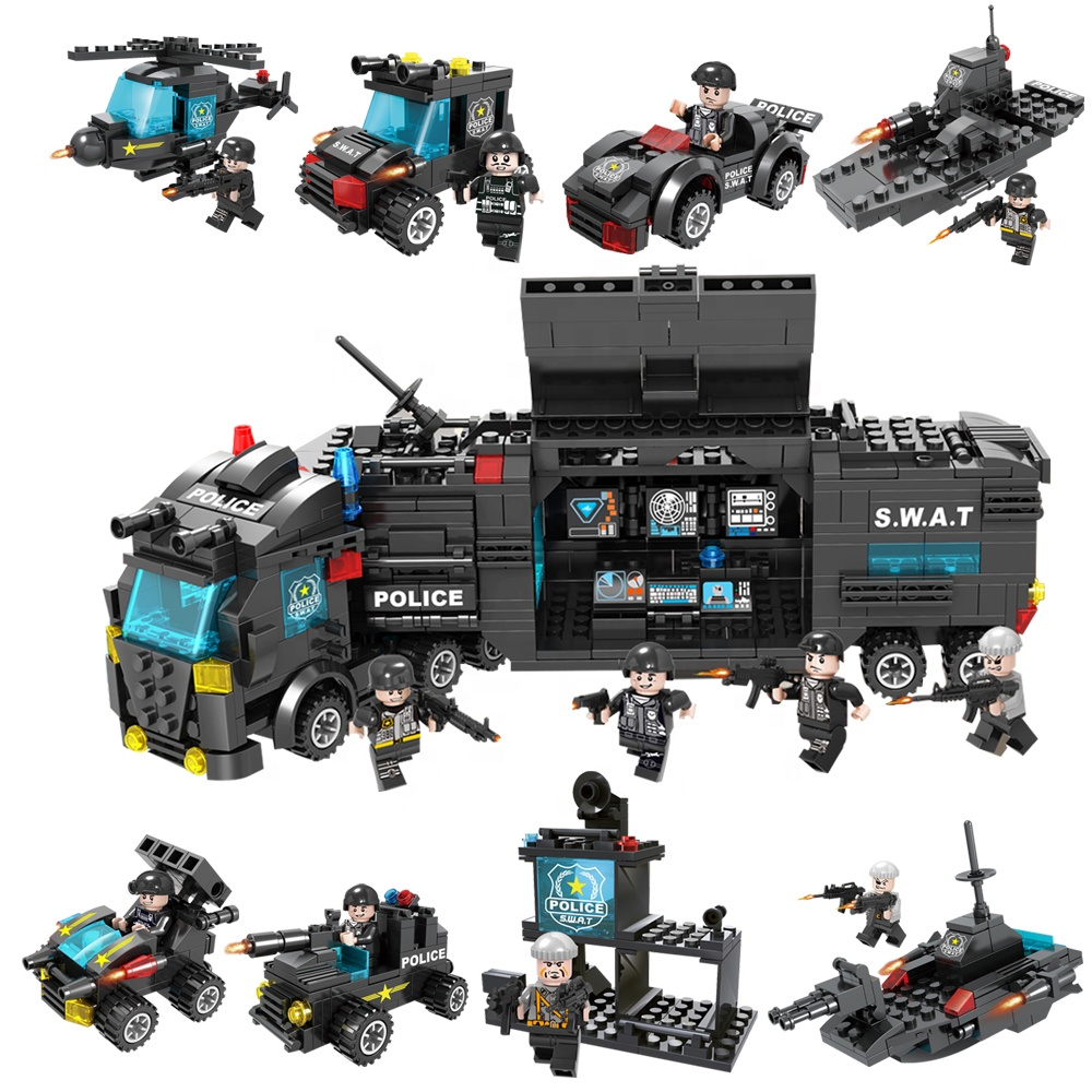Cooperative 8 In 1 City Police Station Building Blocks Compatible Legoingly City Swat Team Truck Blocks Educational Toy For Boys Children Strong Packing Model Building