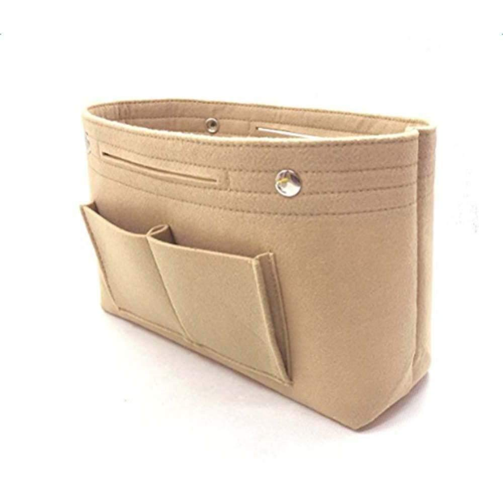 Felt Purse Organizer, Aolvo Handbag Organizer Insert Cosmetic Storage Bag Purse Pocketbook Makeup Container Bag for Women Girls Beige