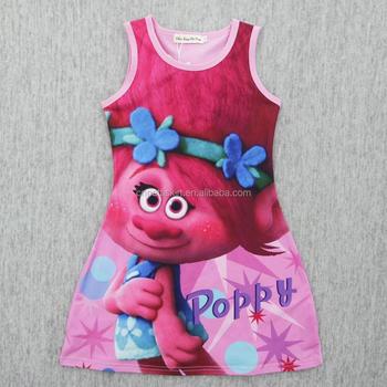 e6b366030 2017 cute little girl boutique remake dress hot sale magic troll baby girl  one piece dress