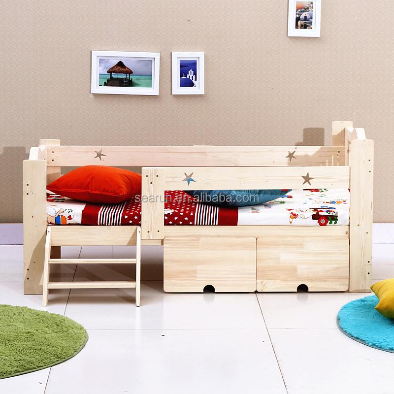 Para ni os de madera maciza cama con almacenamiento con - Precios de camas para ninos ...