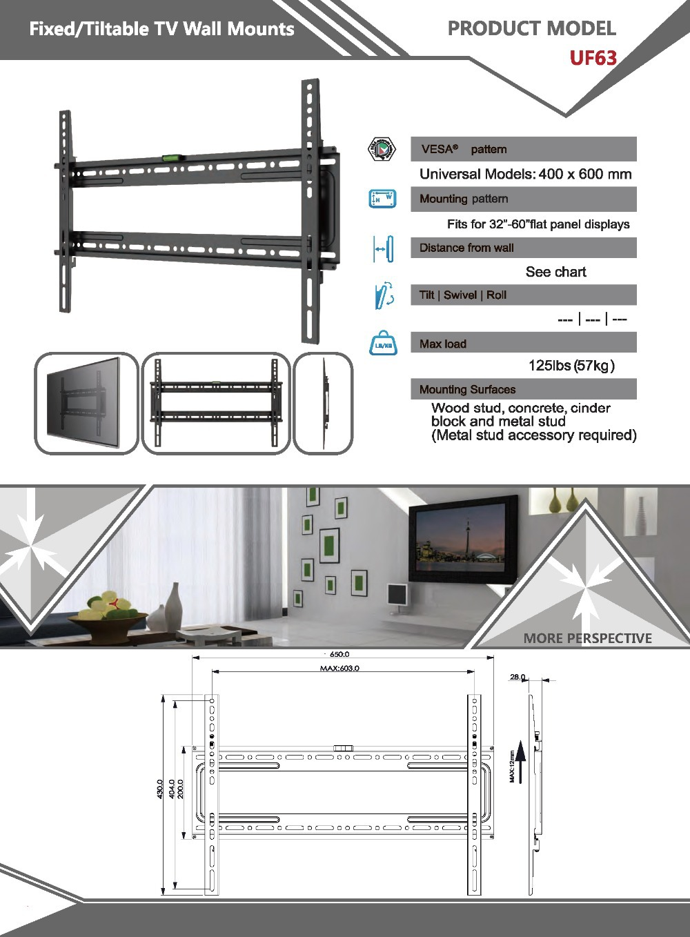 Sliding Removable Fixed Lcd Led Plasma Tv Wall Mount Bracket For 65 Engineering Schematics Flat Screen Uf63