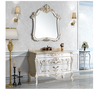 D-finess hot-selling high quality antique bathroom furniture with ceramic single sink jade marble bathroom cabinet H8822-1C