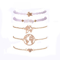 Fashion heart world map bracelet for women wholesale N81287