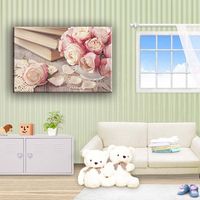 Best sell pink rose in vase and books wall canvas art painting for home decorate
