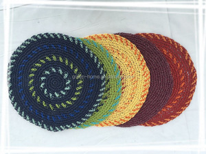 Round paper rope place mats for home