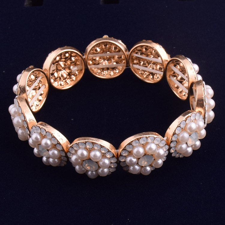 Women fashion pearl bracelet zinc alloy gold plated acrylic crystal bracelet for gift