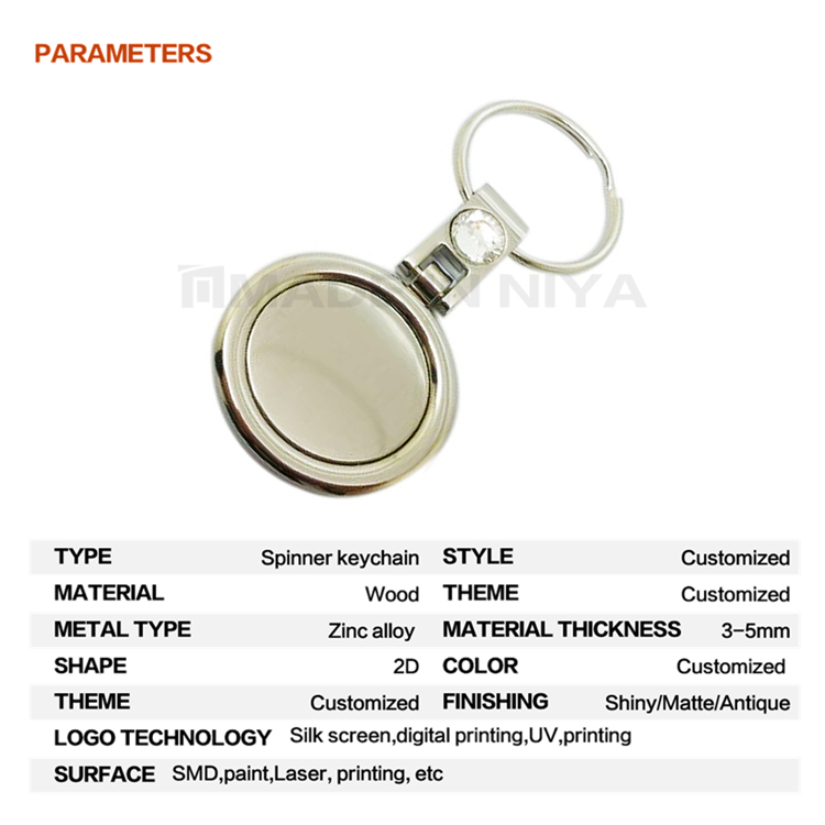 Customized Mold Rotating Crystal Letter Attachment Casino Keychain From China