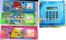 Calculator Pencil case, Double sided Kids Plastic Pencil Case with Compartments