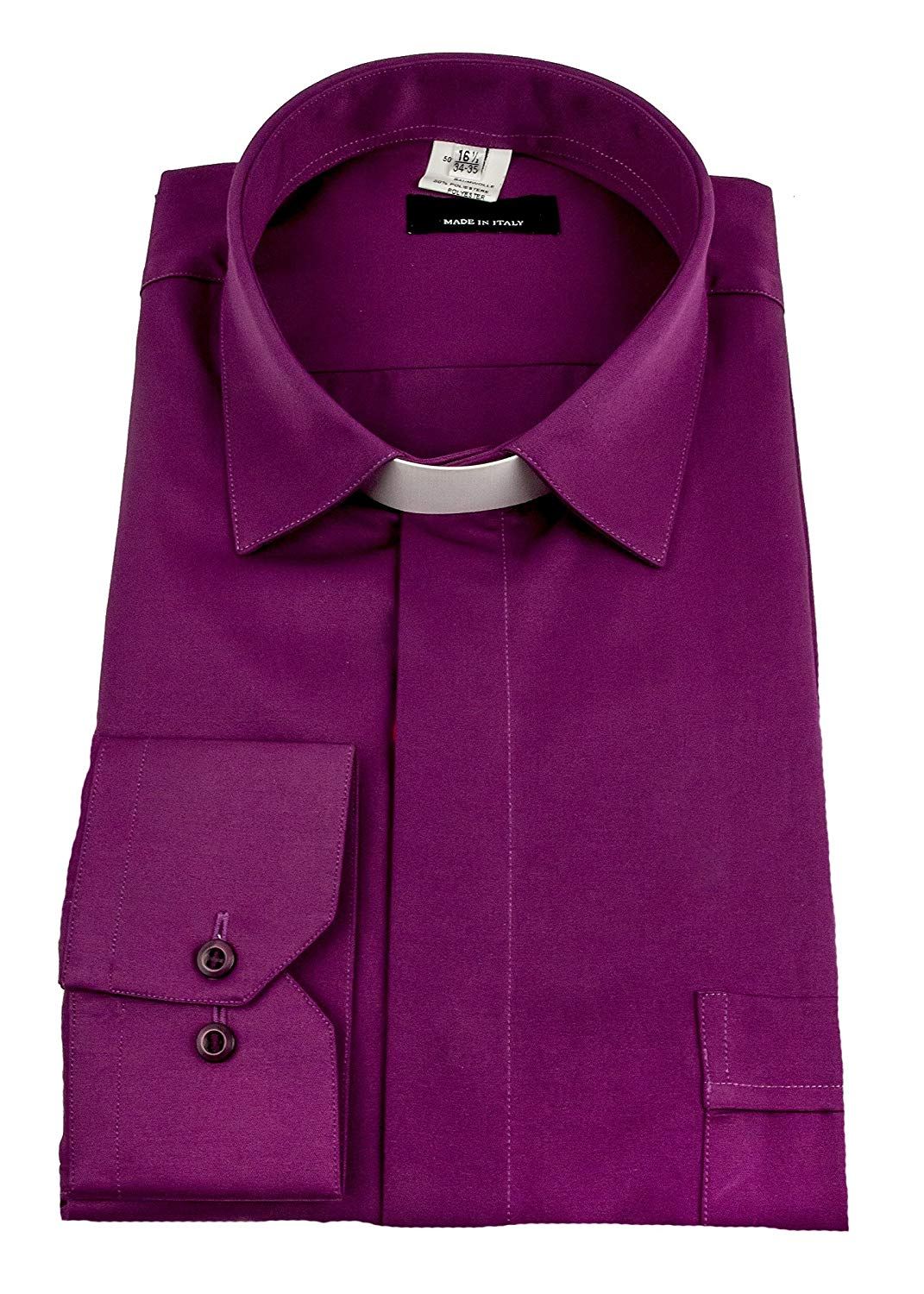 37e2bc8326 Get Quotations · Mercy Robes Mens Long Sleeves Dress TAB Collar Clergy Shirt  (RED Purple)