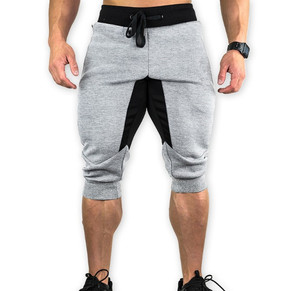 Grey jogger sporting thin workout elastic waistband cotton compression sweat long shorts mens