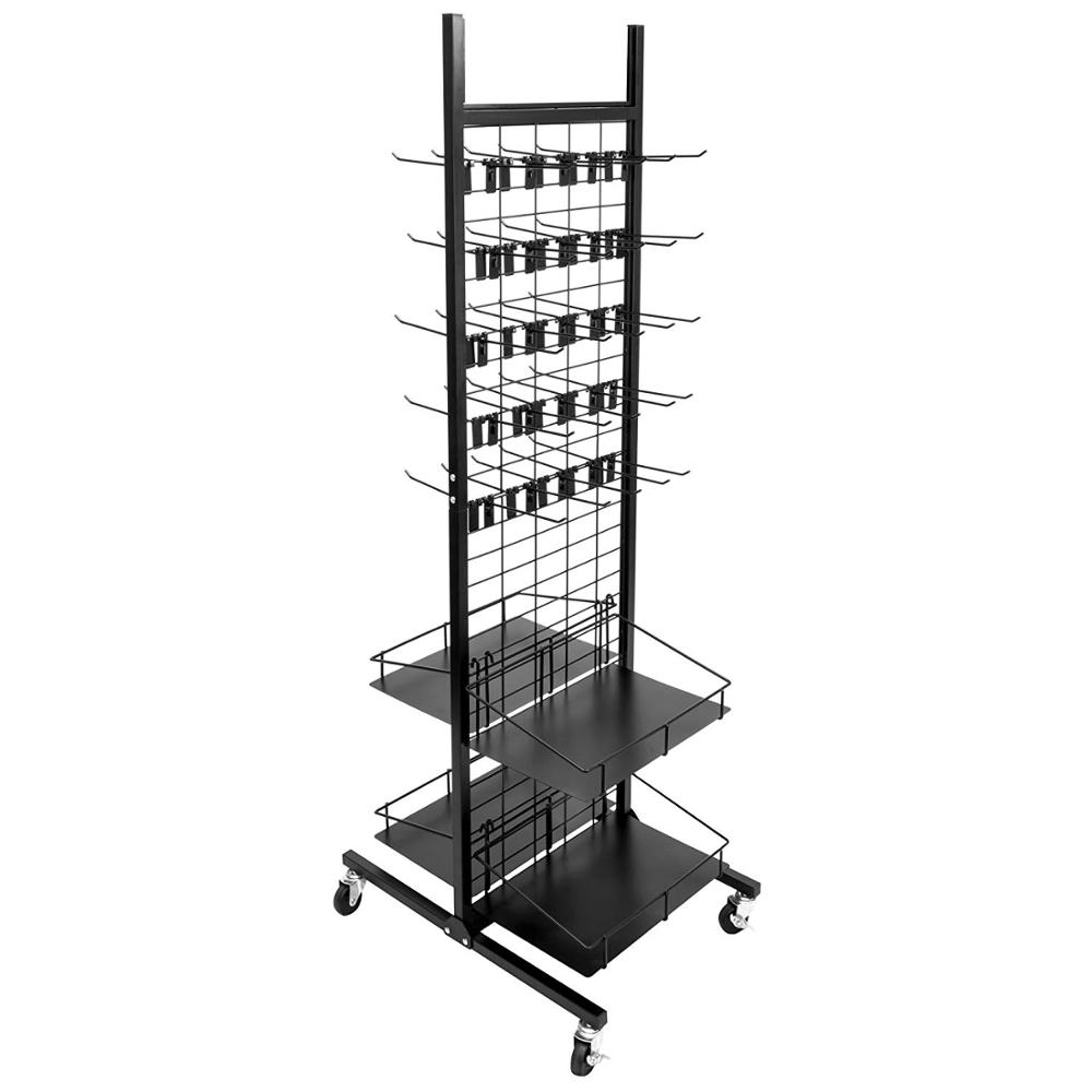 Wholesale Supermarket Display Merchandising Rack Metal Iron Footprint Includes 50 Peg Hooks and 4 Shelves Display Holder