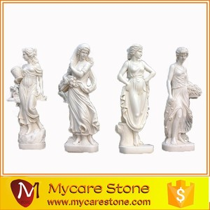 Pure White Marble Four seaon God statues stone sculpture