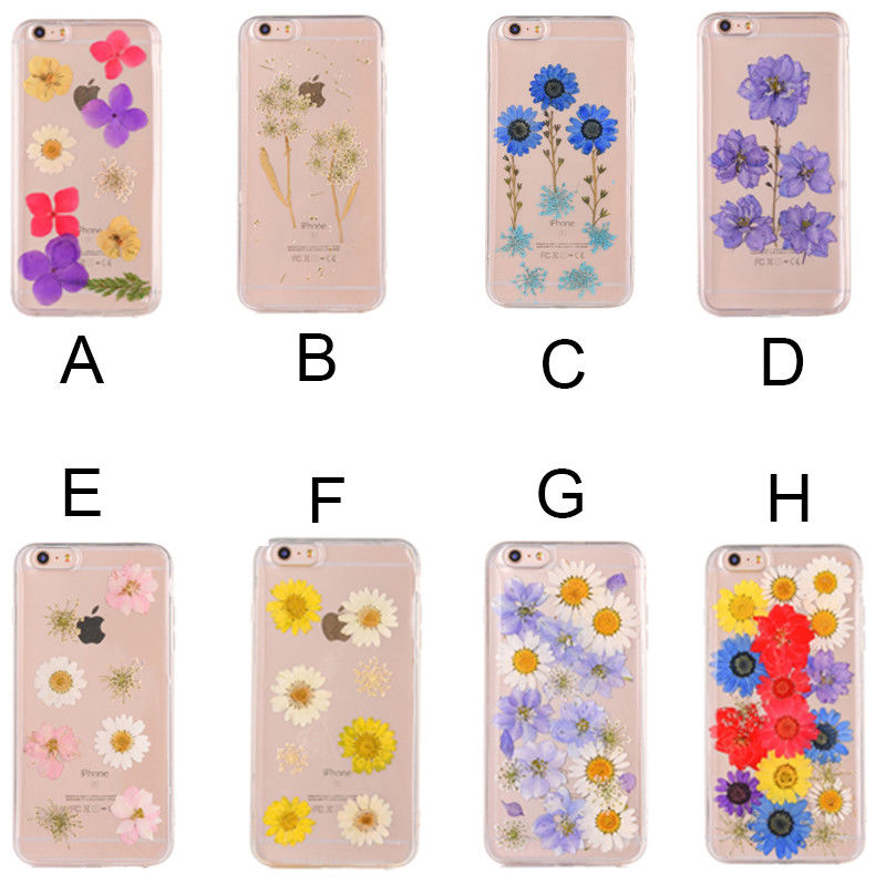 <strong>Hot</strong> Epoxy Dripping Pressed Real Dried Flower Soft TPU Cover Case For iPhone 7 8 6 Se X