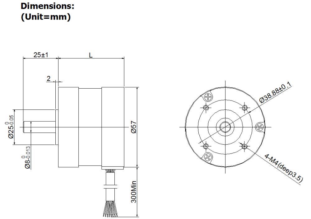 57bls dc brushless motor   36v bldc motor   4000rpm bldc