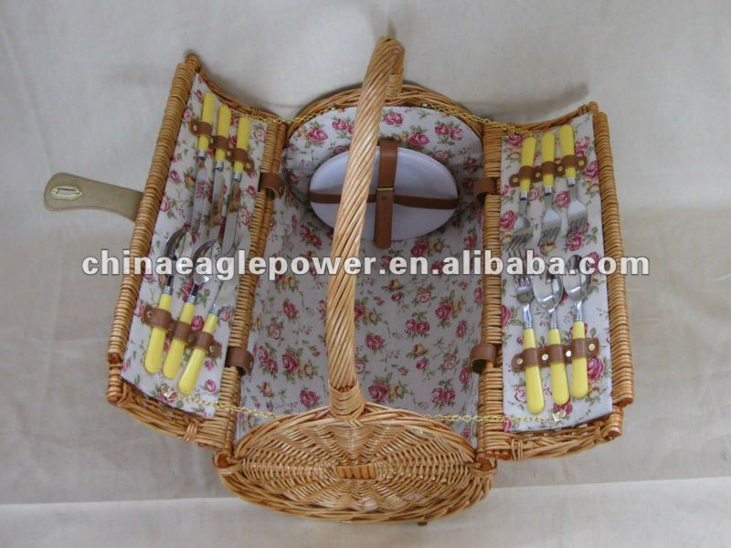 bright color wicker picnic basket for two couple