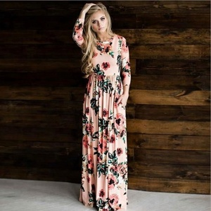 Hot Sale Fancy Long Sleeve Print Woman Flower Maxi Dress