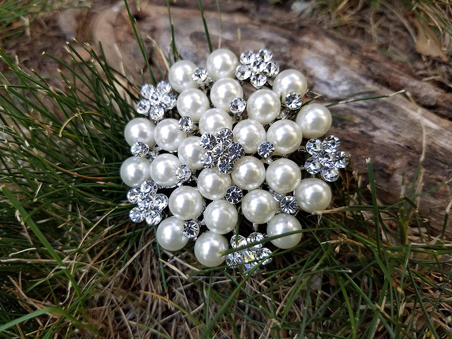 99b6e7a4891 Get Quotations · Silver Pearl Rhinestone Flat Back Embellishment Brooch Pin  Clear Crystal Pearl Wedding Broach Silver Pearl Brooch