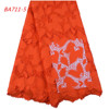 1668 Red African Cord Lace Fabric Guipure Lace With Stone For Women Party Dress In Guangzhou Fabric Market