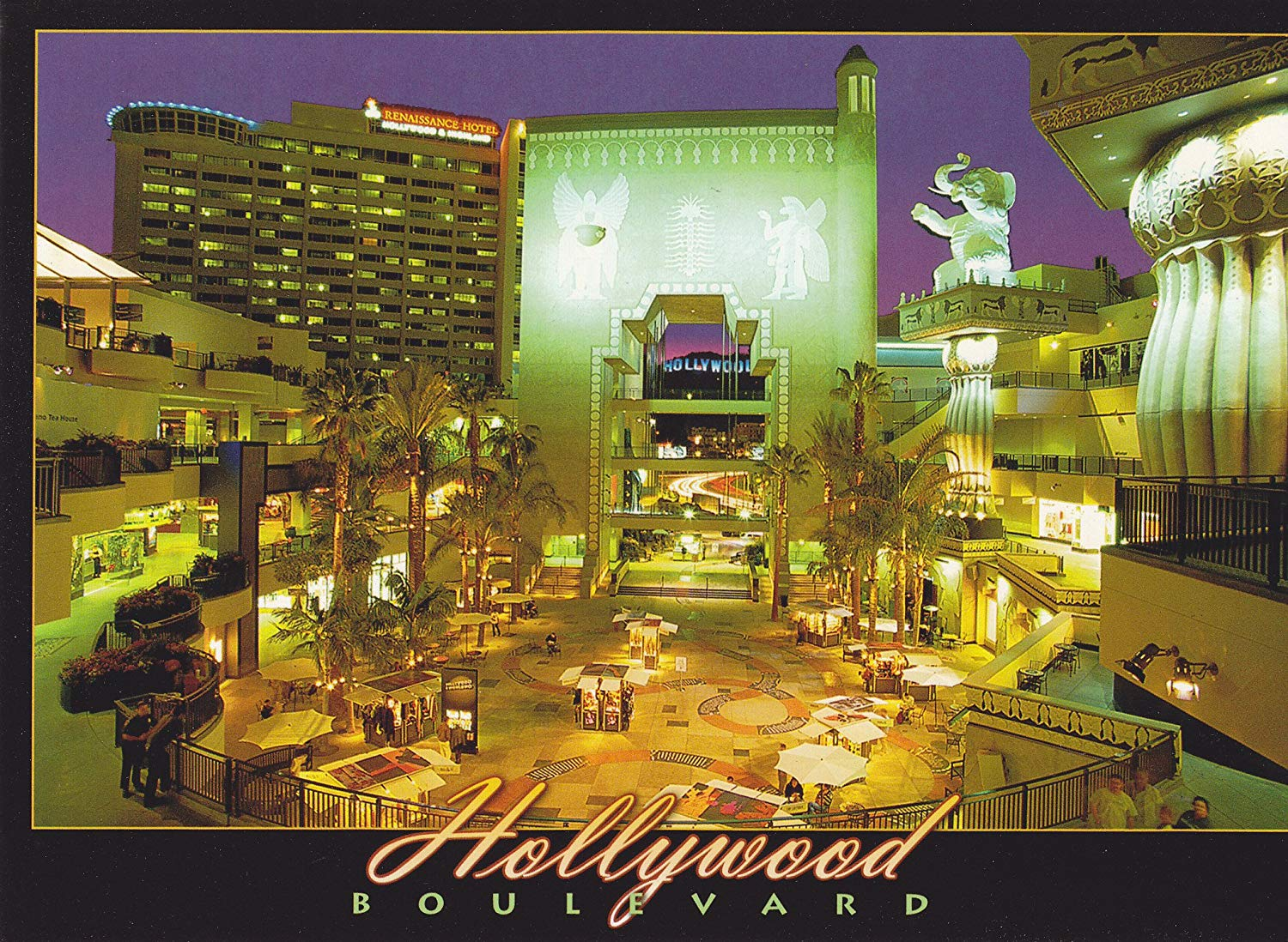 """TRK2LA244 LA-244 HOLLYWOOD BOULEVARD The sights of Hollywood Boulevard at night POSTCARD .. - [[ 7"""" x 5"""" POSTCARD ]].. From Hibiscus Express"""