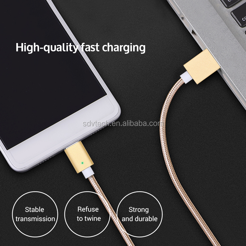 Fashionable nylon braided fast charging cable magnet charging usb data cables for iPhone6