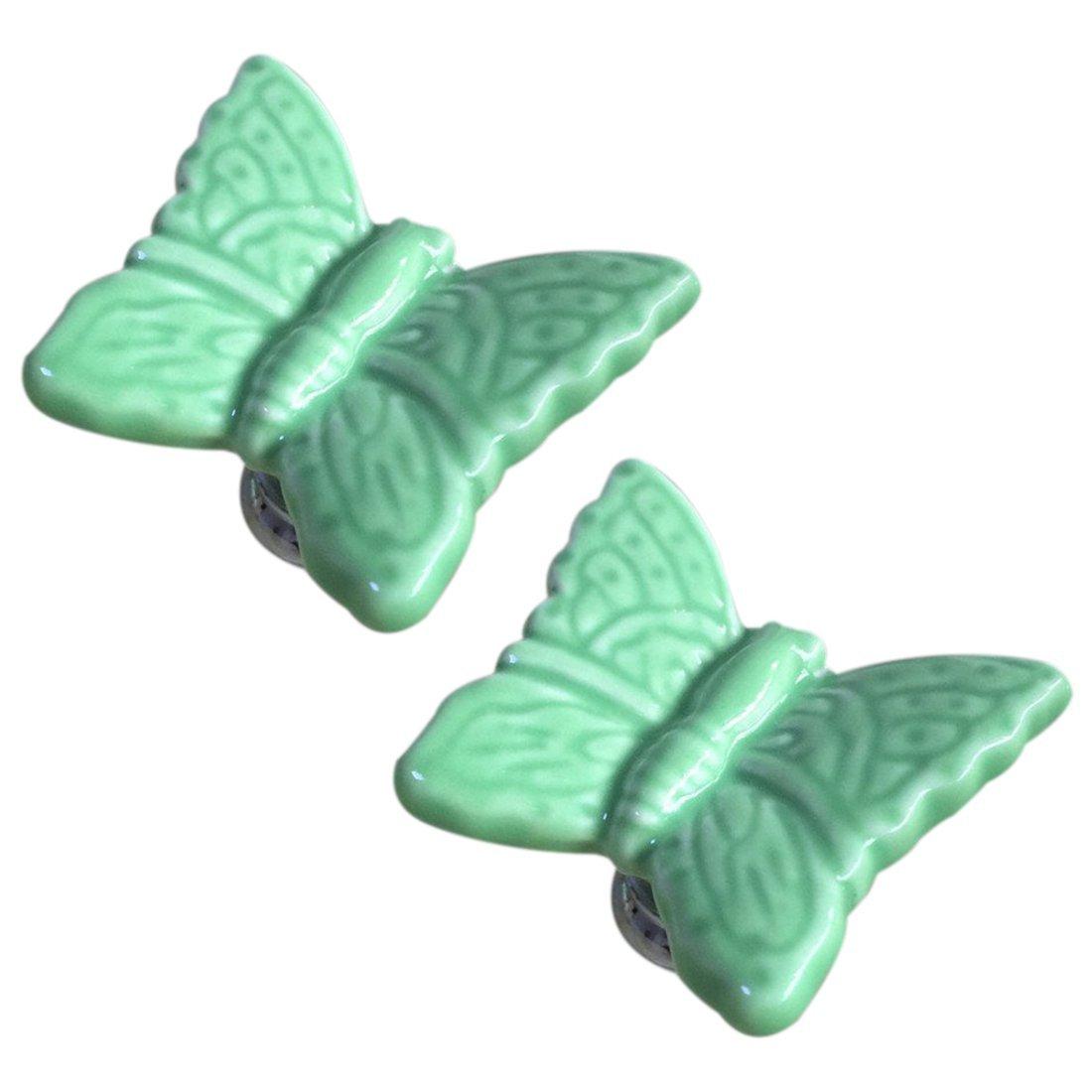 Drawer Knobs - SODIAL(R) 10Pcs Butterfly Knobs Ceramic Drawer Handles Pulls for Kids Girls Kitchen Furniture Door Cabinet Dresser Closet Wardrobe Cupboard Vanities with Screws (Green)