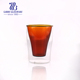 250ml amber colored water drinking double wall glass cup