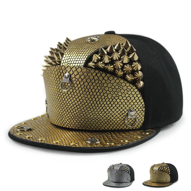 172a4b4b1ec Get Quotations · new snakeskin armor golden rivets gorras snapback hat male  outdoor street hip-hop cap 5
