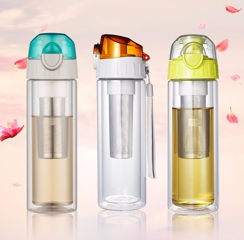 Heat-resistant Glass bottle BPA Free Leakproof Portable water bottle with Stainles Steel infuser